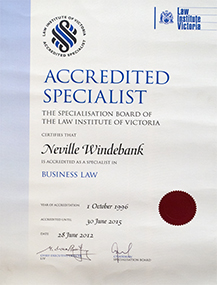 Neville Accredited Specialist Certificate